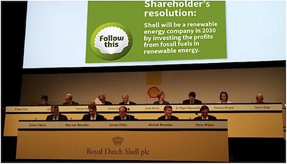 Artist impression van de groene resolutie tijdens Shell aandeelhoudersvergadering, mei 2016 aanstaande. (Martijn van Keulen)